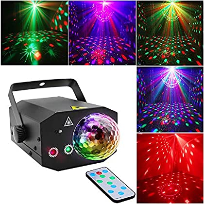 Party Dj Disco Lights And Dj Disco Ball,Two in One stage lights Effect Projector Karaoke Equipment With Remote Control Sound Activated for Dancing Christmas Gift KTV Birthday