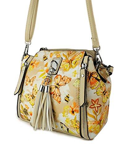 Butterfly Yellow Floral 20cmx19cmx10cm Bag Print Womens Shoulder Small Redfox Tassel xPzvg