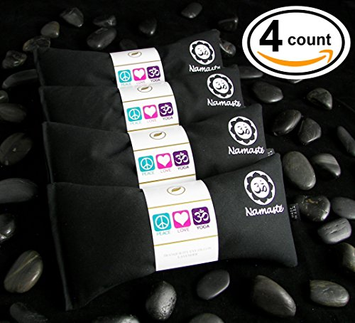 Flax Eye Pillow (Happy Wraps® Yoga Flax Seed Eye Pillows Unscented - 4 Pieces - Black Cotton)