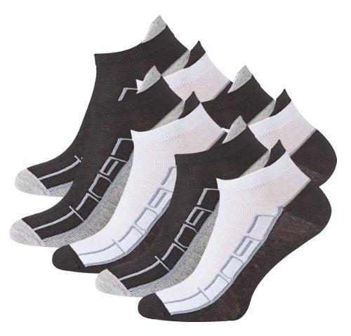 8 Paar Sneaker Socken Bi-color mit Hochferse und Sport Schriftzug, Spitze handgekettelt, Baumwolle mit Elasthan, Gr. 43/46
