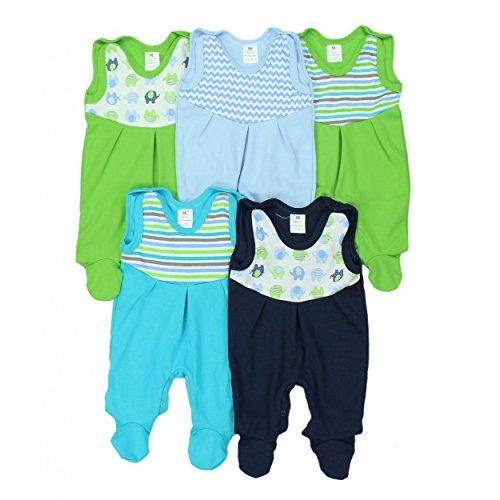 Baby Strampler mit Print 100% Baumwolle Babystrampler Jungen Strampelanzug Mädchen im 5er PACK, Farbe: Junge, Größe: 62