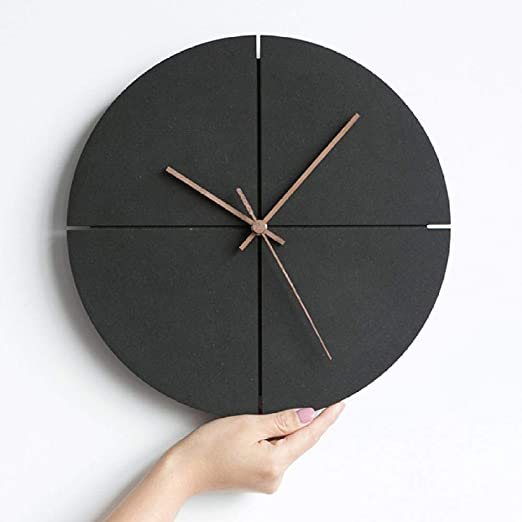 Amazon Com Onmyfly Wooden Wall Clock Modern Design Living Room Decoration Nordic Minimalist Personality Wood Clocks Wall Watch Home Decor Silent Home Kitchen