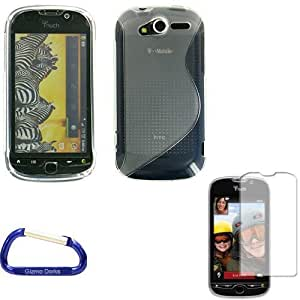 Gizmo Dorks TPU Gel Case Cover (Clear) and Screen Protector with Carabiner Key Chain for the T-Mobile MyTouch 4G