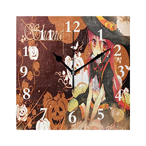 FunnyCustom Square Wall Clock Unique Halloween Anime Wallpaper 7.8 Inch Creative Decorative for Living Room/Kitchen/Bedroom]()