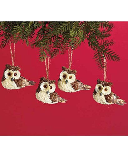 Sets of 4 Woodland Animal Ornaments (Brown Owls)