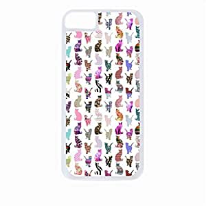 Whimsical Cats Pattern- Case for the Apple Iphone 5C-Hard White Plastic Outer Shell with Inner Soft Black Rubber Lining