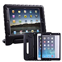 HDE iPad Air Bumper Case for Kids Shockproof Hard Cover Handle Stand with Built in Screen Protector for Apple iPad Air 1 (Black)