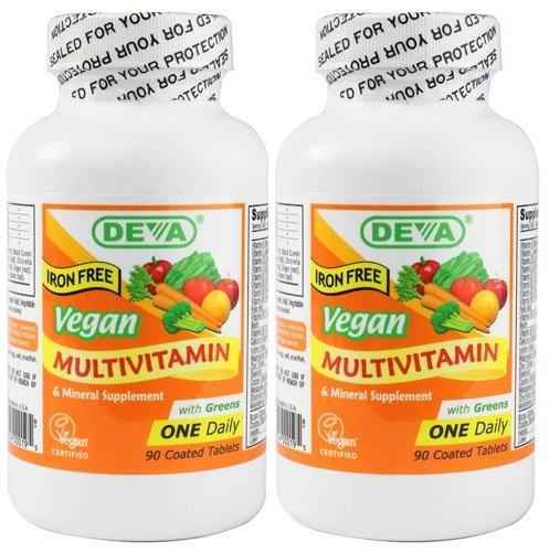 Deva Vegan Multivitamin and Mineral Supplement with Iron Free 90 Tabs (Pack of 2)
