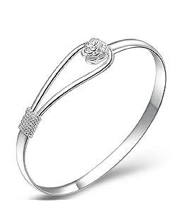 TOOGOO bracelet / bangle bijoux design classique en argent plaque elegant du motif de fleur de rose