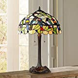 Traditional Table Lamp Bronze Tropical Birds Stained Glass Shade for Living Room Family Bedroom Nightstand - Robert Louis Tiffany