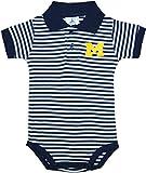 University of Michigan Wolverines Block M Newborn Striped Polo Bodysuit Navy 6-9 Months