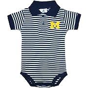 University of Michigan Wolverines Block M Newborn Striped Polo Bodysuit Navy 12 Months
