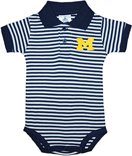 University of Michigan Wolverines Block M Newborn Striped Polo Bodysuit Navy 12 Months (Michigan Striped Shirt)