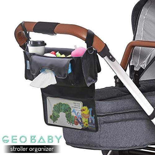 - GeoBaby Modern and Universal Extra Storage Stroller Organizer With Cup Holders, Diaper Compartments, Wipes Dispenser, Phone Pockets, Baby Shower Idea