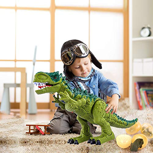 TEMI Electronic Walking Dinosaur Toys for Kids Boys Girls, Battery Powered Jurassic Green Tyrannosaurus Rex Model T-Rex Dragon with Sounds and Projection Lights, Real Movement, Laying Eggs by TEMI (Image #4)