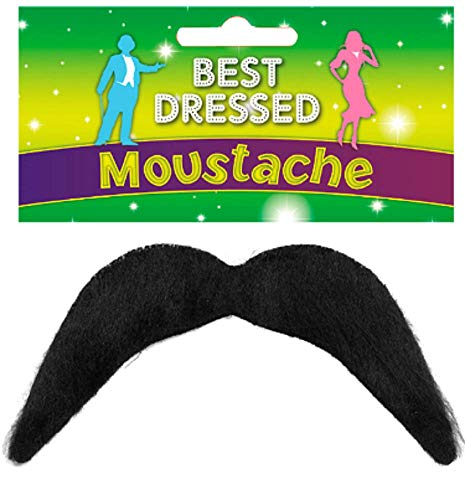 Mens Stick On Black 1970s 118 118 Mario Luigi Mexican 60s Moustache Fancy Dress Costume Outfit Accessory]()
