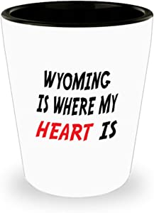 White Ceramic Shot Glass Mug Custom Wyoming Mug Going Away Gift State Mugs Moving Away State Gift Somebody My Heart Is,al0669