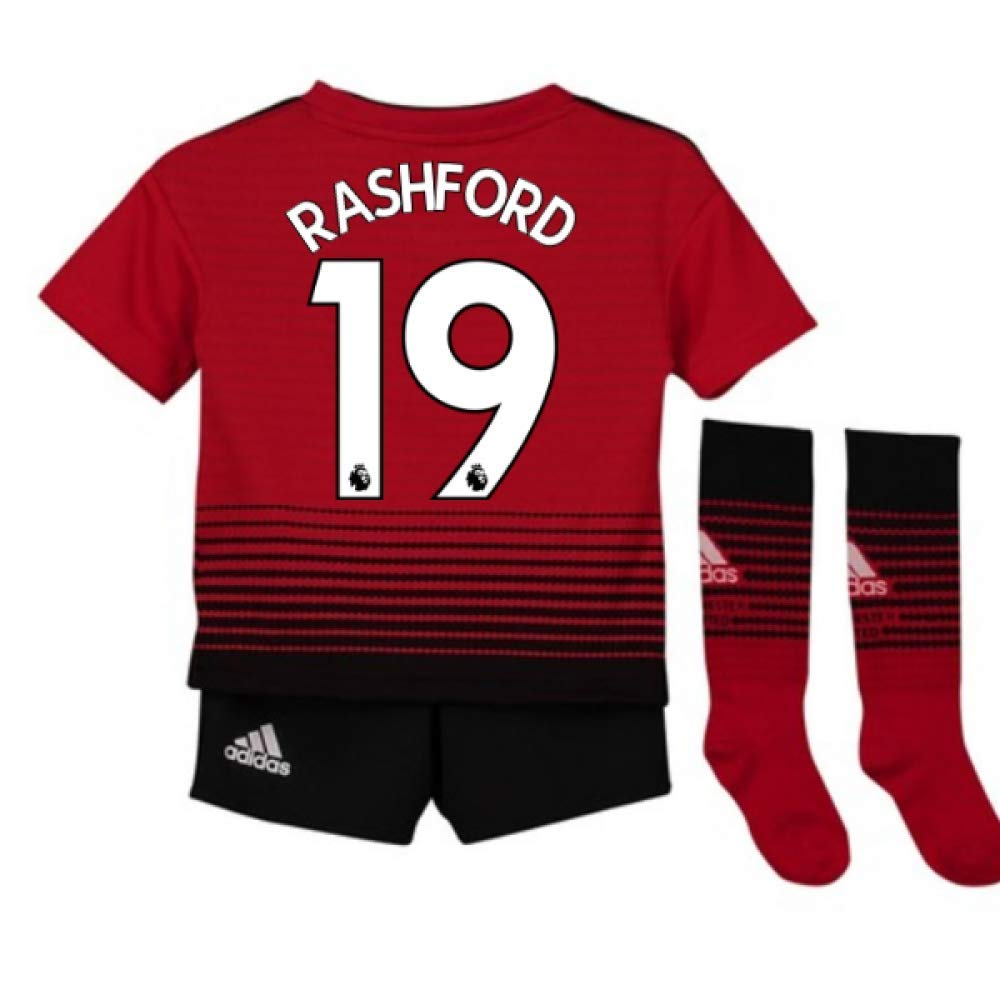 UKSoccershop 2018-2019 Man Utd Adidas Home Little Boys Mini Kit (Marcus Rashford 19)