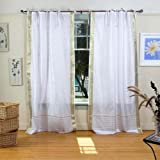Lined-White with Gold Tie Top Sheer Sari Curtain / Drape -80W x 108L-Piece For Sale