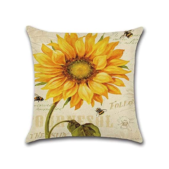 PSDWETS Home Decor Summer Style Sunflower Decorative Outdoor Throw Pillow Covers Set of 4 Cotton Linen Yellow Cushion Covers Pillow Case for Sofa,Car,Bed,Couch,18 x 18 - Material:High quality,Cotton linen Size:Approx 18x18 inch,45 x 45 cm Only have pillow covers,Inserts are not included - patio, outdoor-throw-pillows, outdoor-decor - 512I3RdVSSL. SS570  -