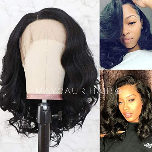 Maycaur Synthetic Lace Front Bob Wigs 14 Inch Black Short Wavy Wigs For Black Women Glueless Heat Resistant Fiber Hair