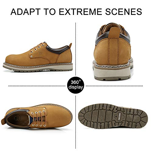 CAMEL CROWN Men's Work Boots 2018 Cowhide Leather Ankle Martin Boots Fashion Casual Soft Toe Men's Shoes by CAMEL CROWN (Image #2)