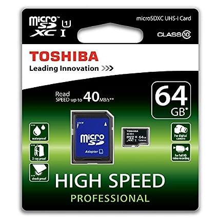 Toshiba SD-C064UHS1(6A - Tarjeta de memoria micro SDXC de 64 GB (con adaptador CL10 UHS-I)