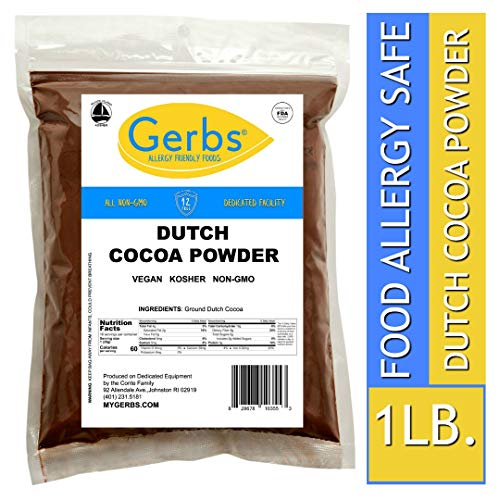 Gerbs Dutch Cocoa Powder, 1 LB - Top 14 Food Allergen Free & NON GMO - Product of Canada - Packaged in USA ()