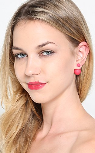 Front And Back Ball Studded Earrings RED New