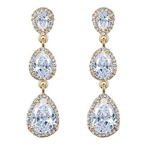 EVER FAITH Women's Austrian Crystal 3 CZ Teardrop Bridal Prom Dangle Earrings Clear Gold-Tone ()