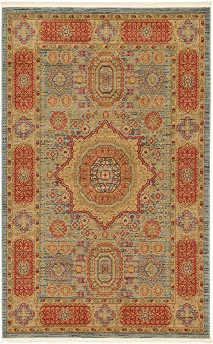 Unique Loom Palace Collection Traditoinal Geometric Classic Light Blue Area Rug (5' 0 x 8' 0) ()