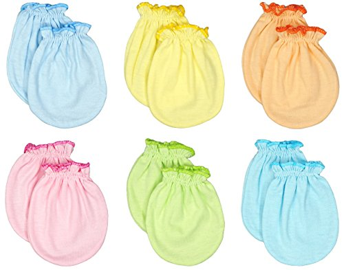 Liwely 6 Pairs Unisex-Baby No Scratch Mittens, 100% Cotton, Solid Color
