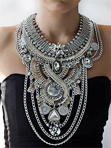 Lanue Womens Ethnic Tribal Boho Beads Coin Tassels Chain Necklaces Long Belly (Coin Tribal Belly Dance)