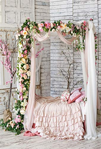Laeacco 5x7ft Chic Floral Bedchamber Interior Pink Bed Pillows Wood Wall Backdrop Vinyl Valentine's Day Lovers Portrait Shoot Wedding Theme Bridal Shower Background Studio Props ()