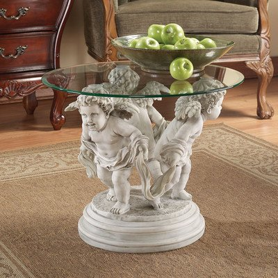 Design Toscano Bernini's Cherubs Coffee (24' Round Glass Top)