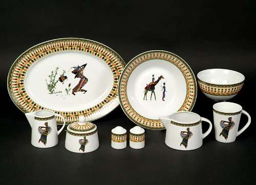 Kasva Afrika Dekor Kaffee Service 12 teilig Porzellan Neu für 6 Personen
