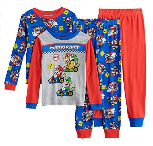 Super Mario Little/Big Boys Charcter Print 4-Piece Snug Fit Cotton Pajama Set (10, Mario Kart)