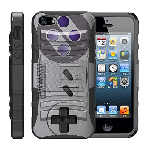 TurtleArmor | Compatible for Apple iPhone SE Case | iPhone 5/5s Case [Hyper Shock] Hybrid Dual Layer Armor Holster Belt Clip Case Kickstand - Classic Game Controller