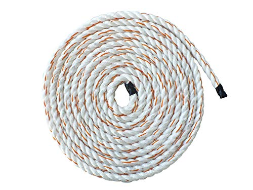 Pelican Rope Poly Dacron Rope (3/4 inch)  Twisted 3 Strand Composite Line with Polypropylene Core - Moisture, Chemical & Abrasion Resistant - Marine, Arborist, Commercial (Orange Tracer - 50 feet)