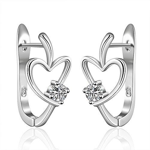 Sterling Silver Plated Open Heart Post Stud Earrings Zircon Inlaid Women Fashion Jewelries