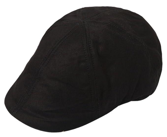 Men s 100% Cotton Duck Bill Flat Golf Ivy Driver Visor Sun Cap Hat (Black 567338209db