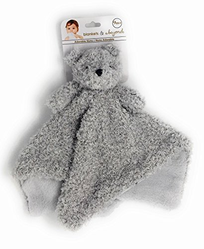 Blankets and Beyond Grey Fuzzy Bear Baby Security Blanket (Teddy Security Blanket Bear)
