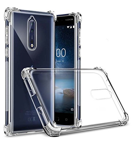 huge selection of 1ce26 84530 Tarkan Shock Proof Protective Soft Transparent Back Case Cover for Nokia 8  (Crystal Clear)