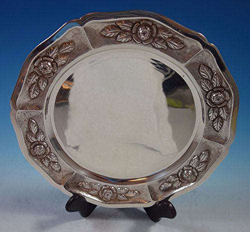 (Aztec Rose by Sanborns Mexican Sterling Silver Charger Plate 11