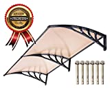 UV Protection Overhead Clear Outdoor Patio Awnings, Window Awnings - GC Global Direct (6.5FT, Coffee)