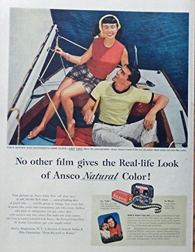 Film Color Ansco (Ansco Color Film, 50's Scarce print ad. Full Page Color Illustration. (man and woman in boat) original 1952 Life Magazine Art)