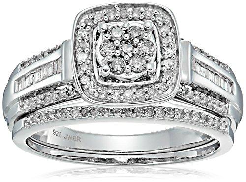 Sterling Silver Diamond Bridal Set (1/2 cttw), Size 7