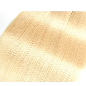 Allrun Hair 613 Blonde Virgin Hair Bundles 3 Bundles with 4x4 Lace Closure Free Part 7A Honey Blonde Brazilian Hair Straight 100% 613 Human Remy Hair Extensions (12 14 16 and 12)