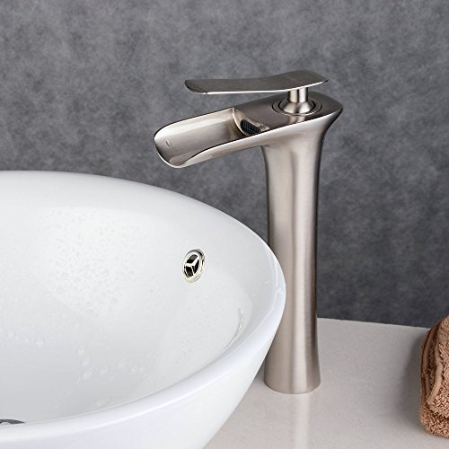 Nickel Vessel Lavatory Spouts (Beelee BL9009NH Single Handle Waterfall Spout Tall Lavatory Faucet, Brushed Nickel Finish)