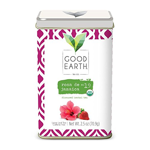 Good Earth Tea Rosa De Jamaica - Lemony tart hibiscus accentuated by bright lemon myrtle and a sweet hint of strawberry - Premium Loose Leaf Herbal Tea From the Creators of Sweet & Spicy Teas - Good Earth Herbal Tea